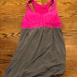 pink and grey Lululemon tank top